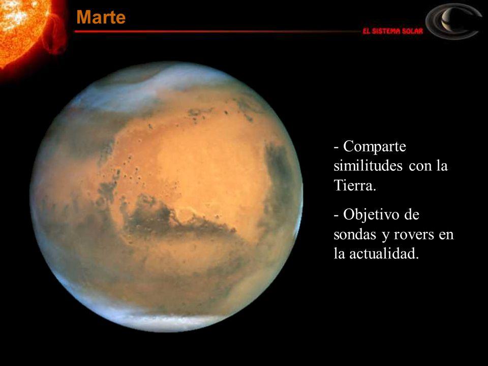 - Comparte similitudes con la Tierra. - Objetivo de sondas y rovers en la actualidad. Marte