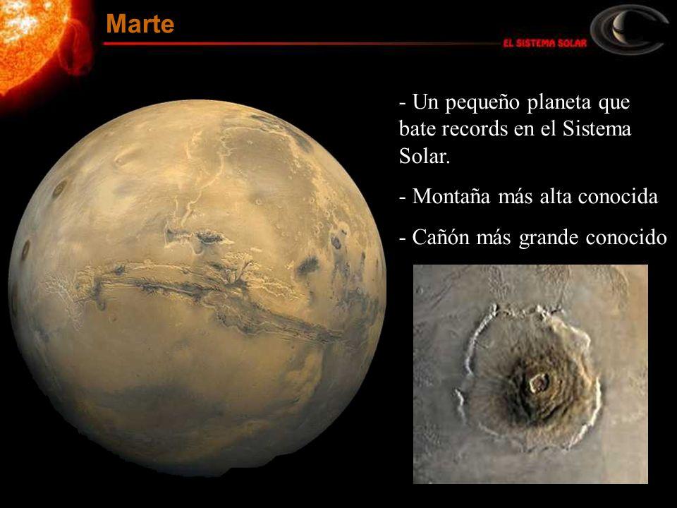 - Un pequeño planeta que bate records en el Sistema Solar. - Montaña más alta conocida - Cañón más grande conocido Marte