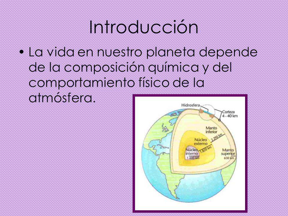 Introducción La vida en nuestro planeta depende de la composición química y del comportamiento físico de la atmósfera.