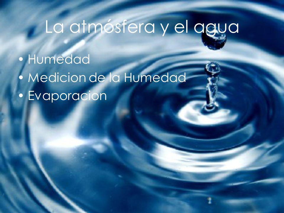 La atmósfera y el agua Humedad Medicion de la Humedad Evaporacion