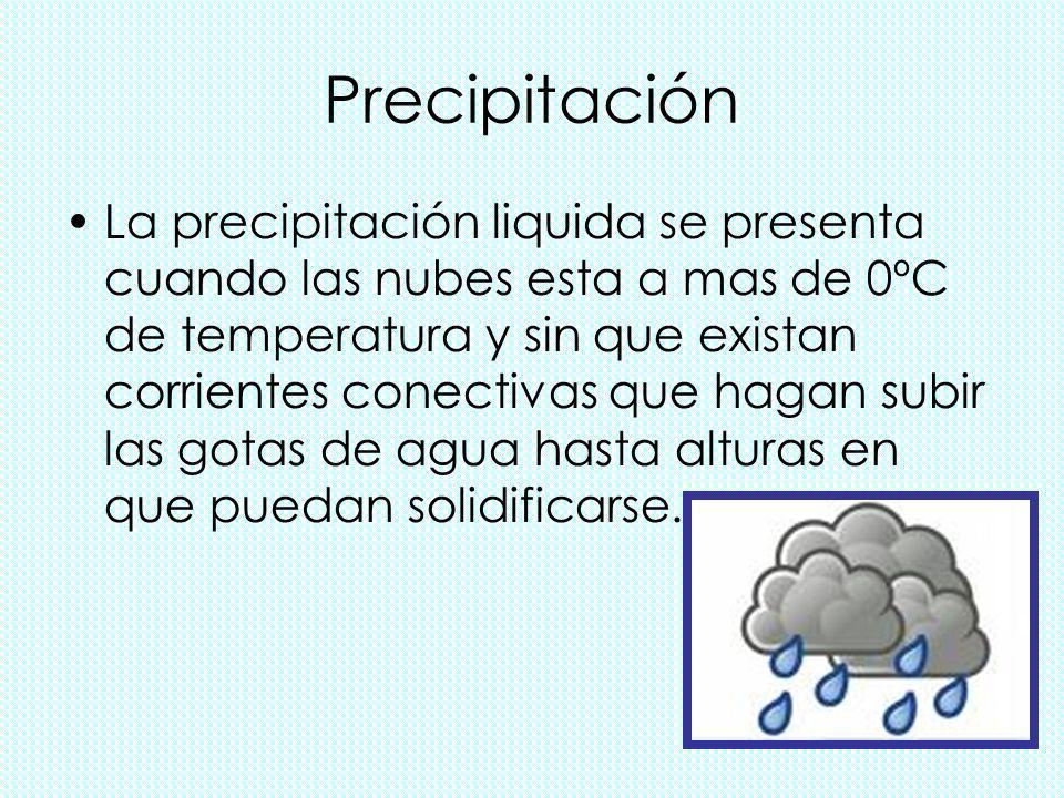 Precipitación La precipitación liquida se presenta cuando las nubes esta a mas de 0ºC de temperatura y sin que existan corrientes conectivas que hagan