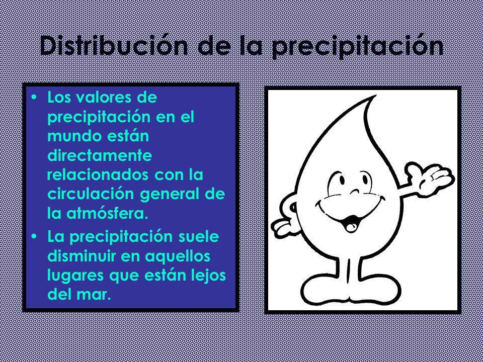 Distribución de la precipitación Los valores de precipitación en el mundo están directamente relacionados con la circulación general de la atmósfera.