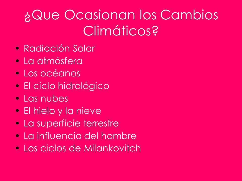 ¿Que Ocasionan los Cambios Climáticos? Radiación Solar La atmósfera Los océanos El ciclo hidrológico Las nubes El hielo y la nieve La superficie terre