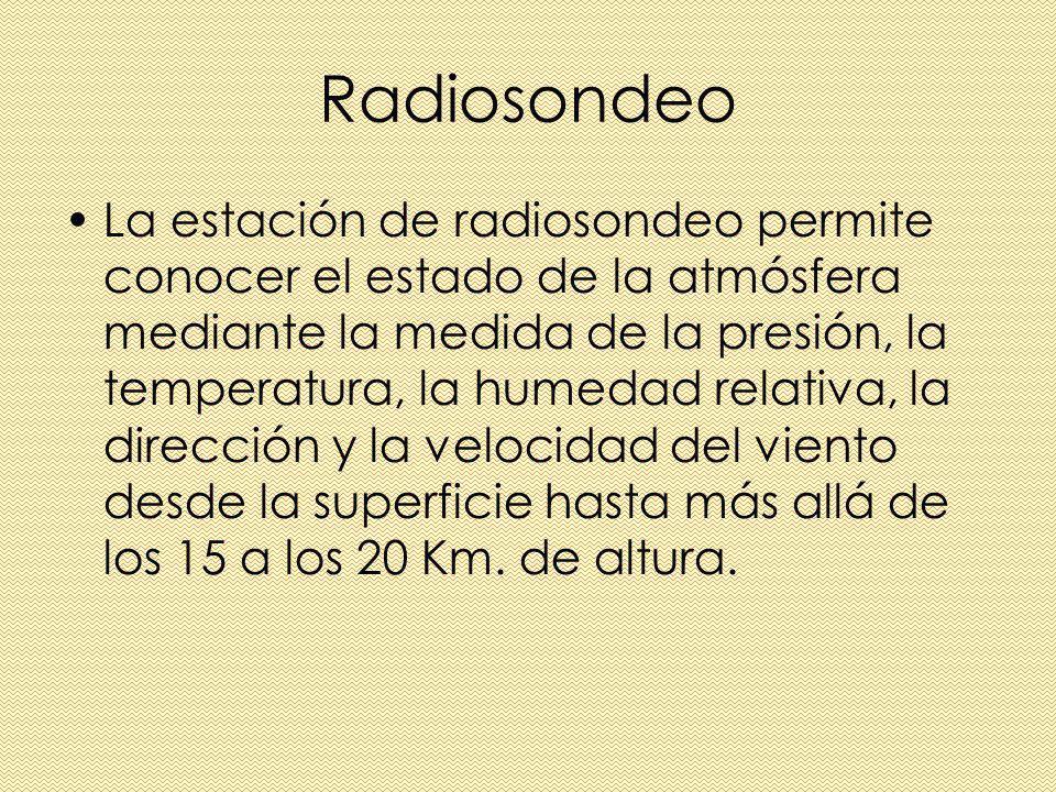 Radiosondeo La estación de radiosondeo permite conocer el estado de la atmósfera mediante la medida de la presión, la temperatura, la humedad relativa