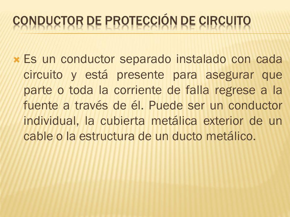 Es un conductor separado instalado con cada circuito y está presente para asegurar que parte o toda la corriente de falla regrese a la fuente a través