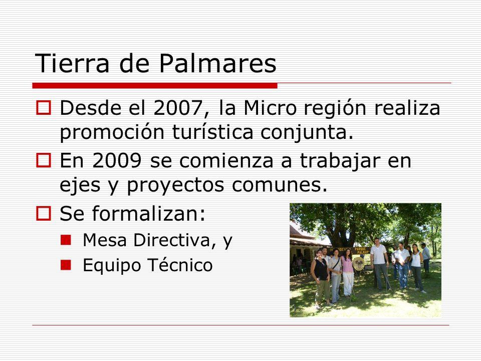 Tierra de Palmares Desde el 2007, la Micro región realiza promoción turística conjunta. En 2009 se comienza a trabajar en ejes y proyectos comunes. Se