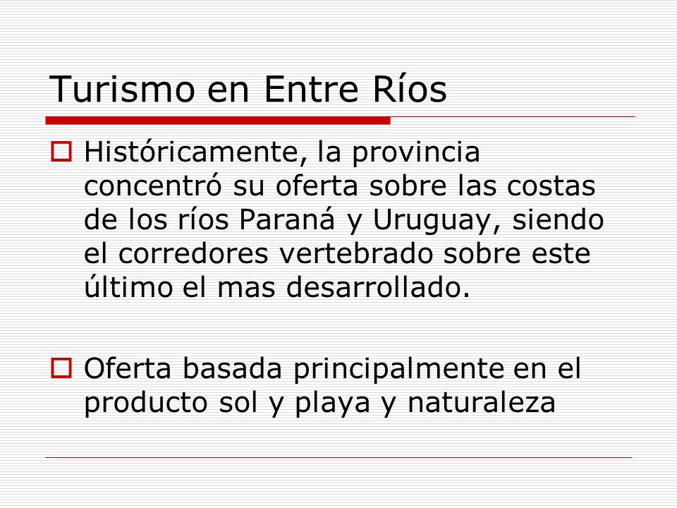 Turismo en Entre Ríos Históricamente, la provincia concentró su oferta sobre las costas de los ríos Paraná y Uruguay, siendo el corredores vertebrado