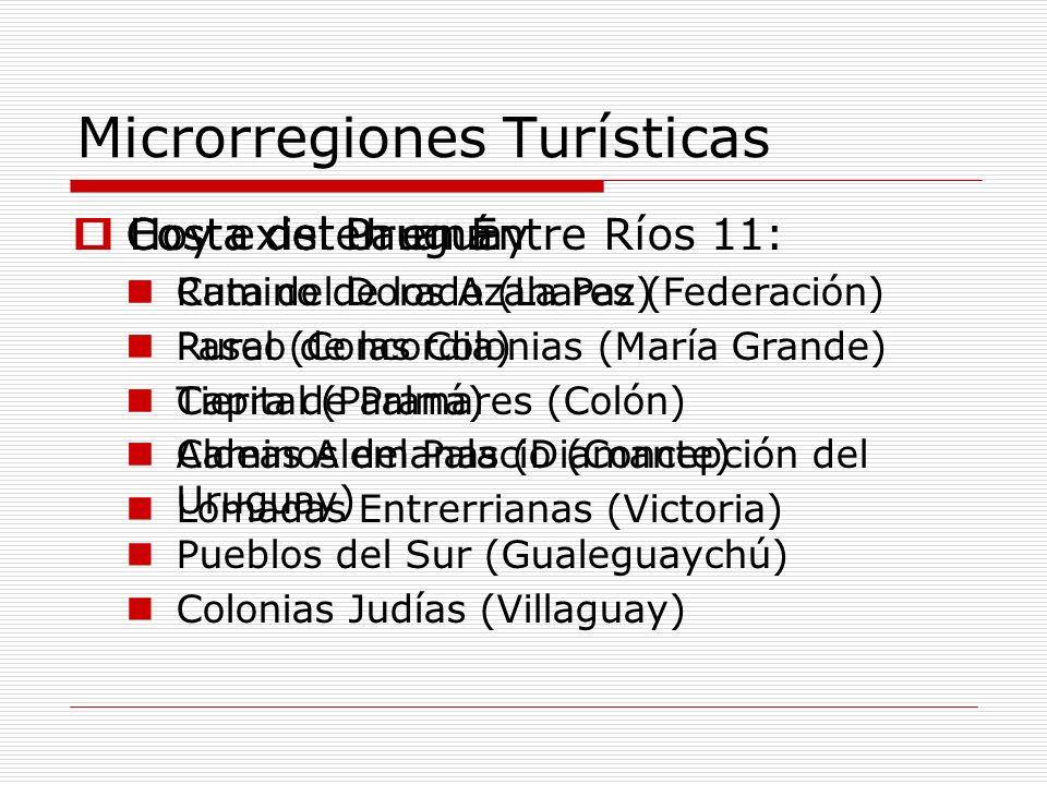 Microrregiones Turísticas Hoy existen en Entre Ríos 11: Costa del Paraná Ruta del Dorado (La Paz) Paseo de las Colonias (María Grande) Capital (Paraná