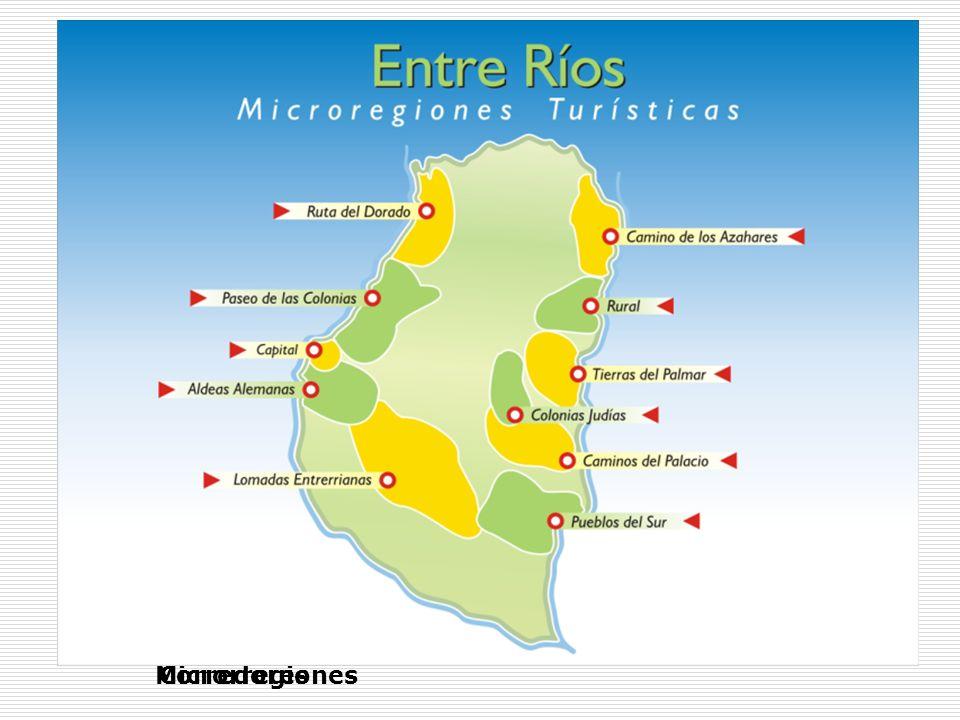Mapa turístico de Entre Ríos CorredoresMicrorregiones