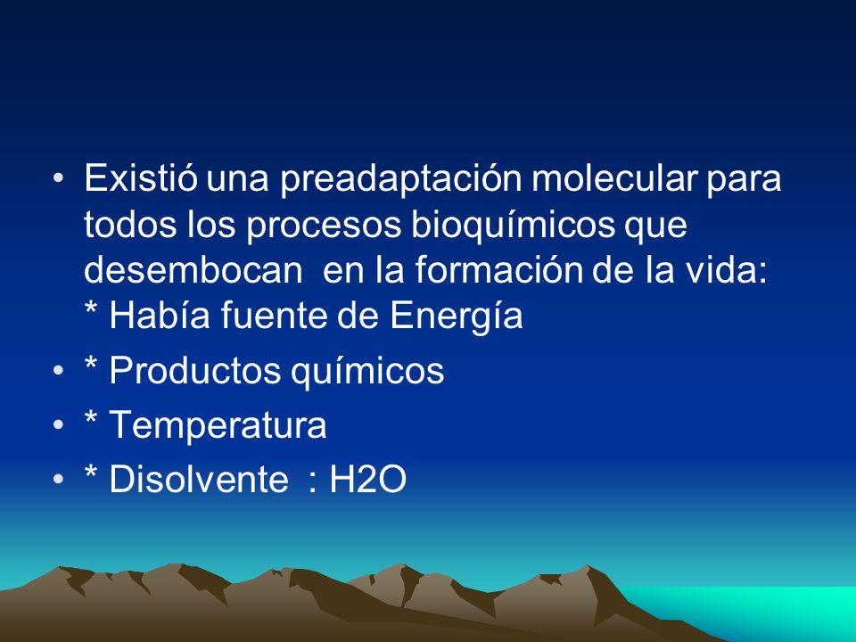 Existió una preadaptación molecular para todos los procesos bioquímicos que desembocan en la formación de la vida: * Había fuente de Energía * Productos químicos * Temperatura * Disolvente : H2O