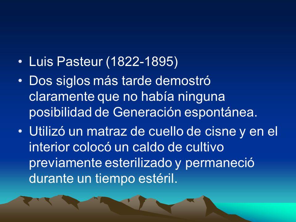 Luis Pasteur (1822-1895) Dos siglos más tarde demostró claramente que no había ninguna posibilidad de Generación espontánea.