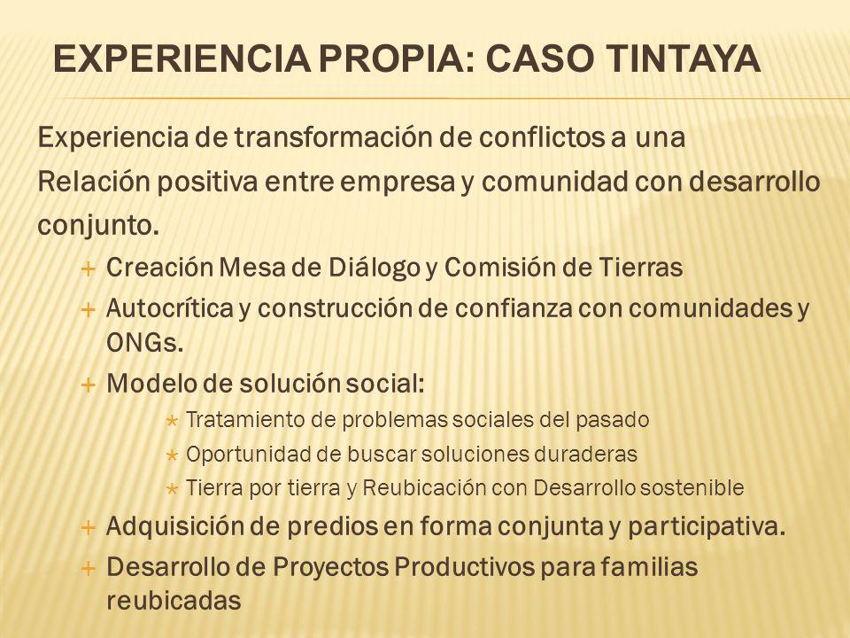Experiencia de transformación de conflictos a una Relación positiva entre empresa y comunidad con desarrollo conjunto.