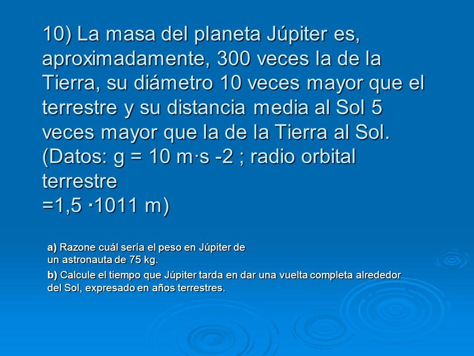 10) La masa del planeta Júpiter es, aproximadamente, 300 veces la de la Tierra, su diámetro 10 veces mayor que el terrestre y su distancia media al So