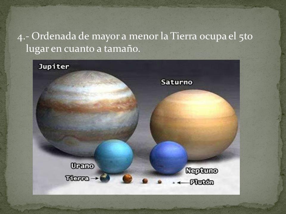 4.- Ordenada de mayor a menor la Tierra ocupa el 5to lugar en cuanto a tamaño.