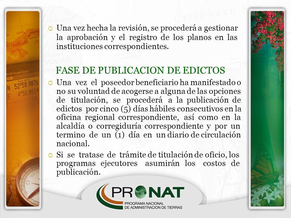 Una vez hecha la revisión, se procederá a gestionar la aprobación y el registro de los planos en las instituciones correspondientes. FASE DE PUBLICACI