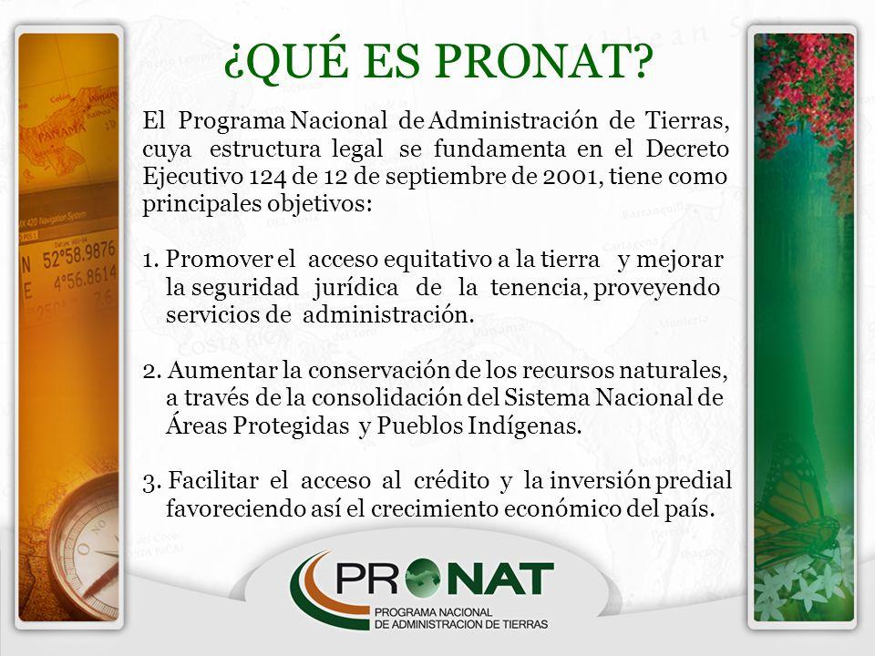¿QUÉ ES PRONAT? El Programa Nacional de Administración de Tierras, cuya estructura legal se fundamenta en el Decreto Ejecutivo 124 de 12 de septiembre