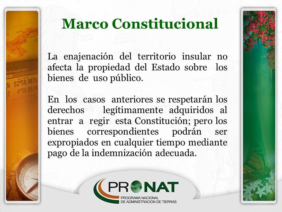 La enajenación del territorio insular no afecta la propiedad del Estado sobre los bienes de uso público. En los casos anteriores se respetarán los der