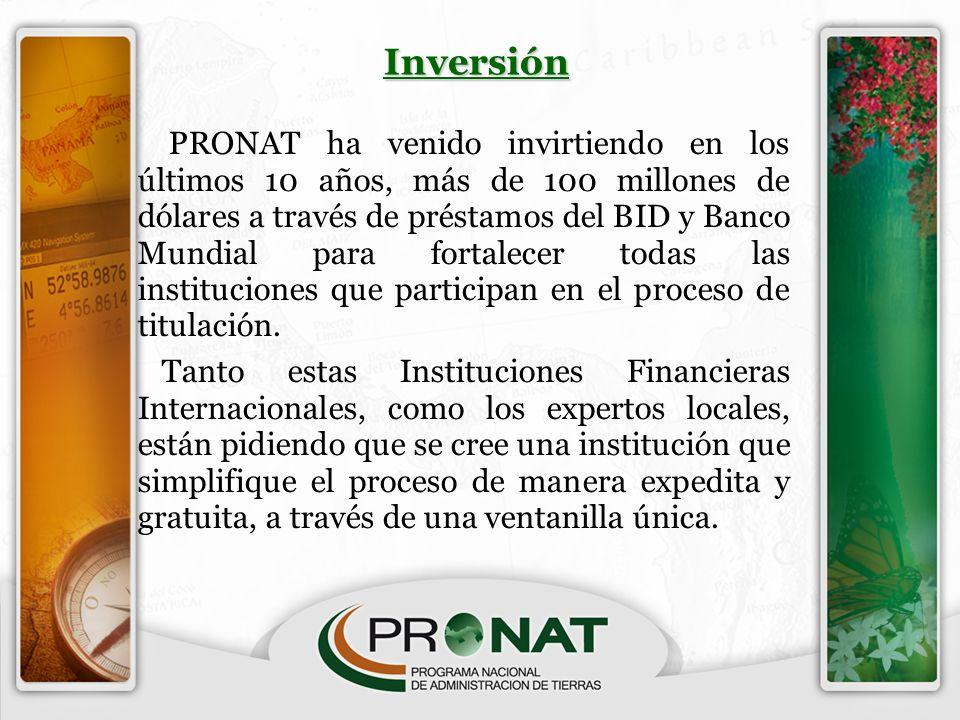 PRONAT ha venido invirtiendo en los últimos 10 años, más de 100 millones de dólares a través de préstamos del BID y Banco Mundial para fortalecer toda