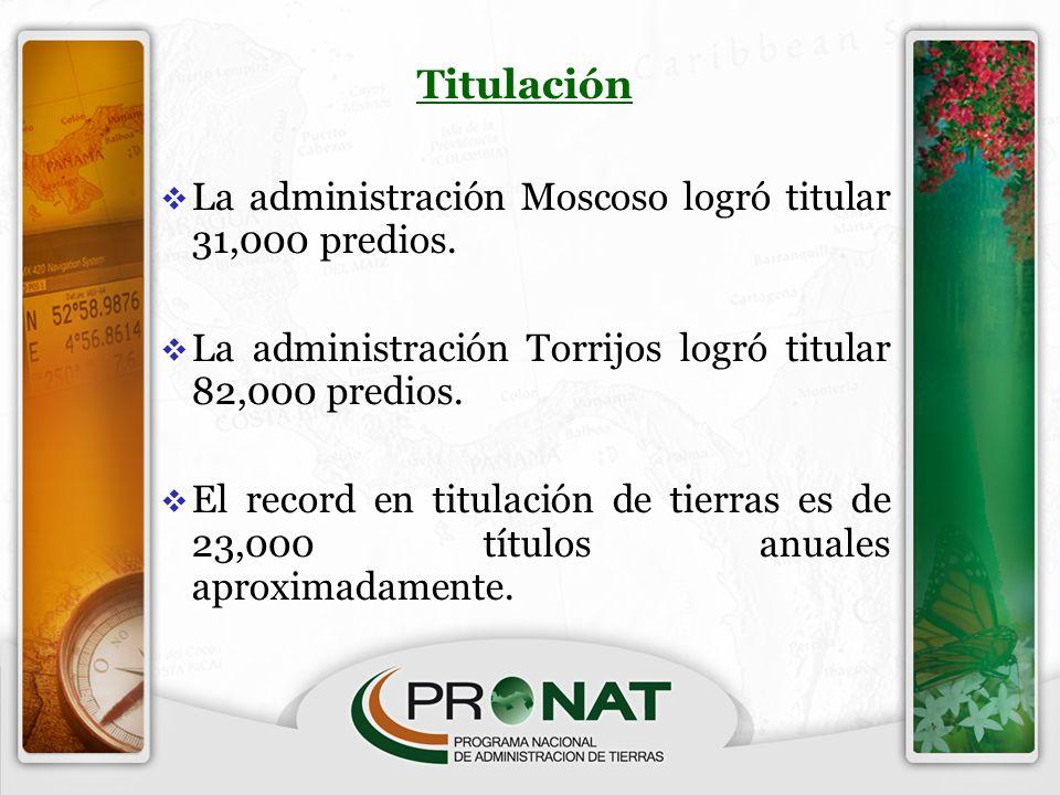Titulación La administración Moscoso logró titular 31,000 predios. La administración Torrijos logró titular 82,000 predios. El record en titulación de
