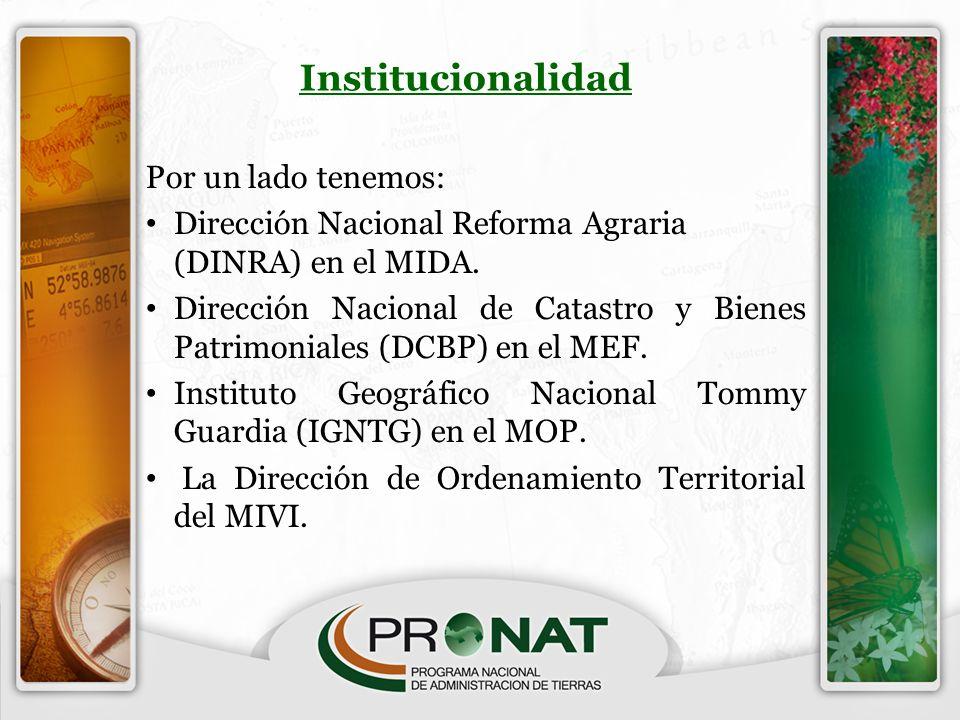 Institucionalidad Por un lado tenemos: Dirección Nacional Reforma Agraria (DINRA) en el MIDA. Dirección Nacional de Catastro y Bienes Patrimoniales (D