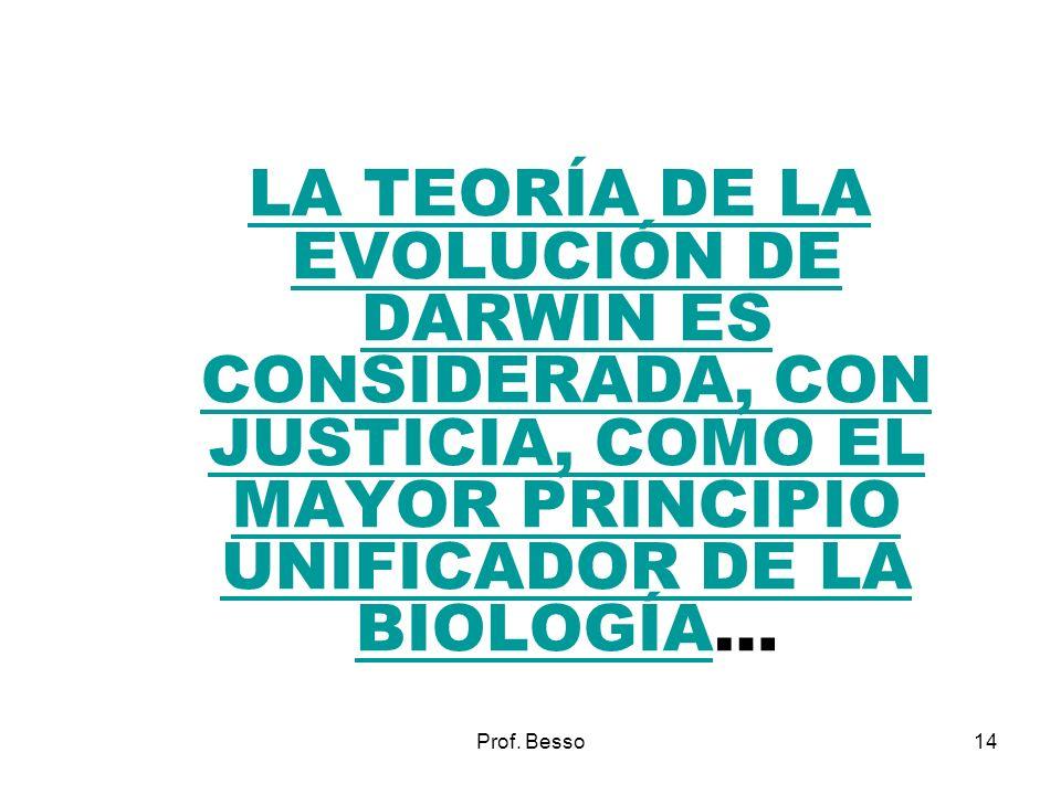 Prof. Besso14 LA TEORÍA DE LA EVOLUCIÓN DE DARWIN ES CONSIDERADA, CON JUSTICIA, COMO EL MAYOR PRINCIPIO UNIFICADOR DE LA BIOLOGÍA… LA TEORÍA DE LA EVO
