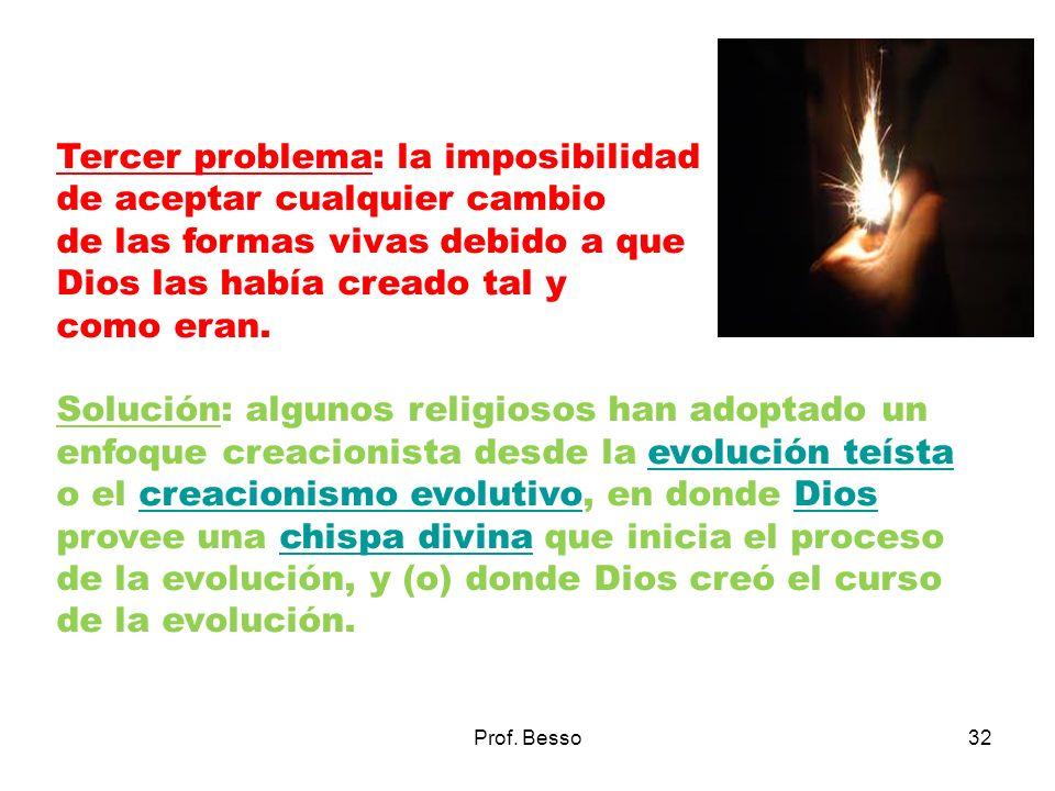 Prof. Besso32 Tercer problema: la imposibilidad de aceptar cualquier cambio de las formas vivas debido a que Dios las había creado tal y como eran. So