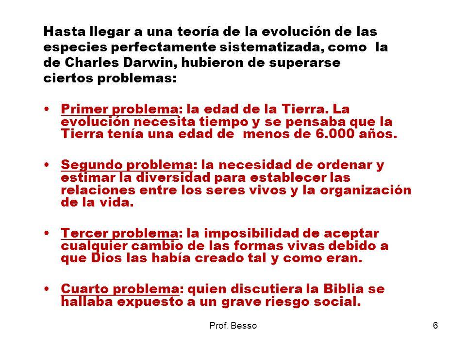 Prof. Besso6 Hasta llegar a una teoría de la evolución de las especies perfectamente sistematizada, como la de Charles Darwin, hubieron de superarse c