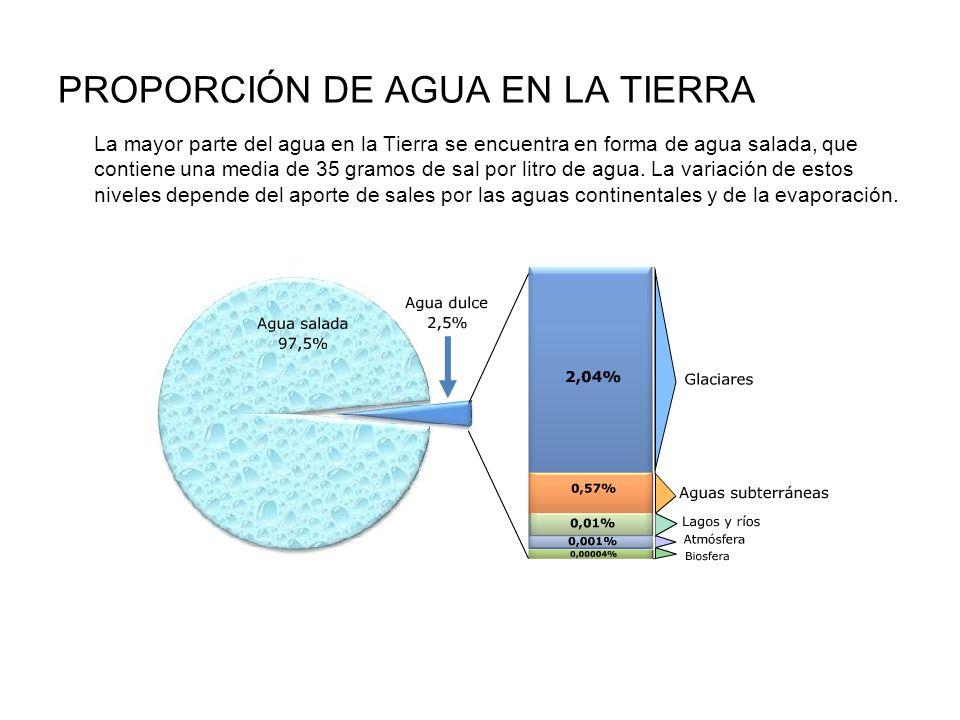 PROPORCIÓN DE AGUA EN LA TIERRA La mayor parte del agua en la Tierra se encuentra en forma de agua salada, que contiene una media de 35 gramos de sal