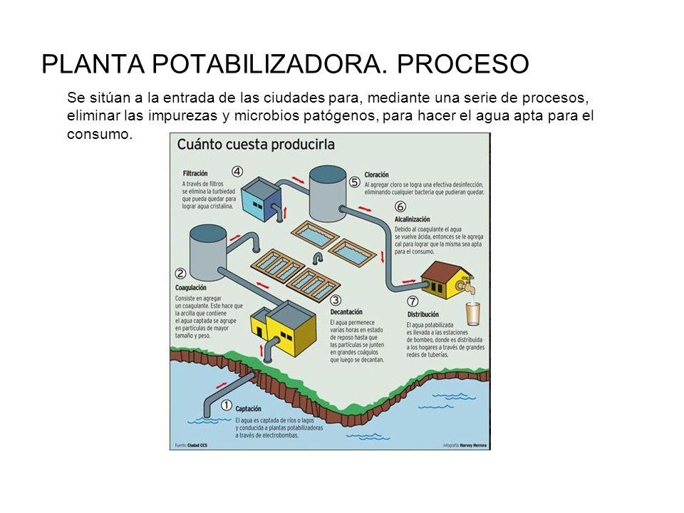 PLANTA POTABILIZADORA. PROCESO Se sitúan a la entrada de las ciudades para, mediante una serie de procesos, eliminar las impurezas y microbios patógen