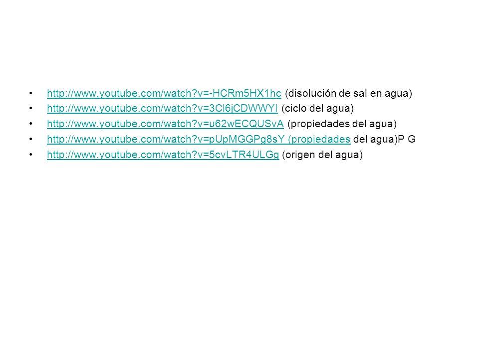 http://www.youtube.com/watch?v=-HCRm5HX1hc (disolución de sal en agua)http://www.youtube.com/watch?v=-HCRm5HX1hc http://www.youtube.com/watch?v=3Cl6jC