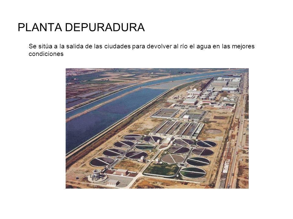 PLANTA DEPURADURA Se sitúa a la salida de las ciudades para devolver al río el agua en las mejores condiciones