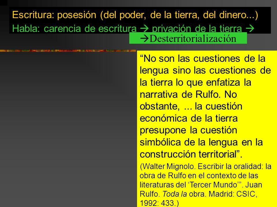 La escritura como instrumento de dominación. No son las cuestiones de la lengua sino las cuestiones de la tierra lo que enfatiza la narrativa de Rulfo
