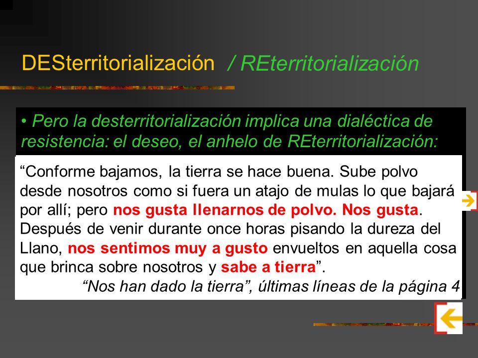 DESterritorialización Concepto propuesto por los filósofos franceses Gilles Deleuze y Félix Guattari en varios de sus libros. La desterritorialización