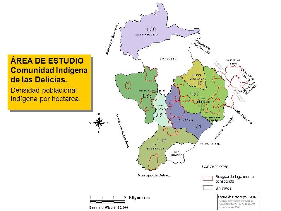 ÁREA DE ESTUDIO Comunidad Indígena de las Delicias. Densidad poblacional Indígena por hectárea. ÁREA DE ESTUDIO Comunidad Indígena de las Delicias. De