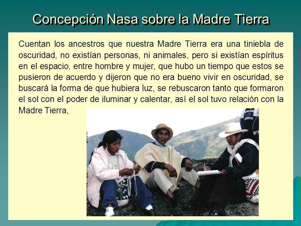 Concepción Nasa sobre la Madre Tierra Cuentan los ancestros que nuestra Madre Tierra era una tiniebla de oscuridad, no existían personas, ni animales,