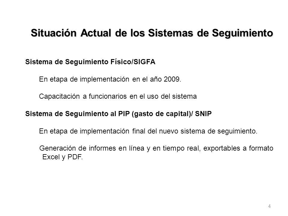 4 Situación Actual de los Sistemas de Seguimiento Sistema de Seguimiento Físico/SIGFA En etapa de implementación en el año 2009. Capacitación a funcio