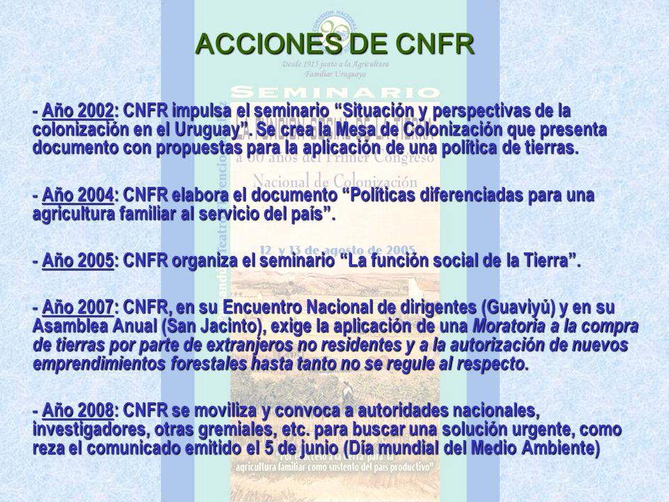 ACCIONES DE CNFR - Año 2002: CNFR impulsa el seminario Situación y perspectivas de la colonización en el Uruguay.