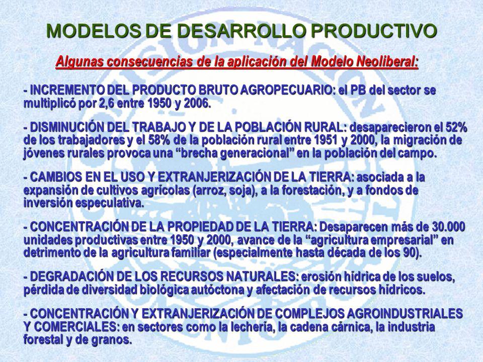 Algunas consecuencias de la aplicación del Modelo Neoliberal: - INCREMENTO DEL PRODUCTO BRUTO AGROPECUARIO: el PB del sector se multiplicó por 2,6 entre 1950 y 2006.