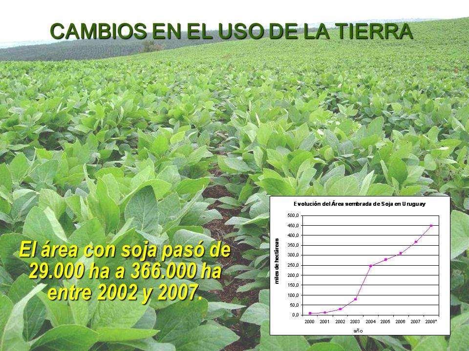 El área con soja pasó de 29.000 ha a 366.000 ha entre 2002 y 2007 El área con soja pasó de 29.000 ha a 366.000 ha entre 2002 y 2007.