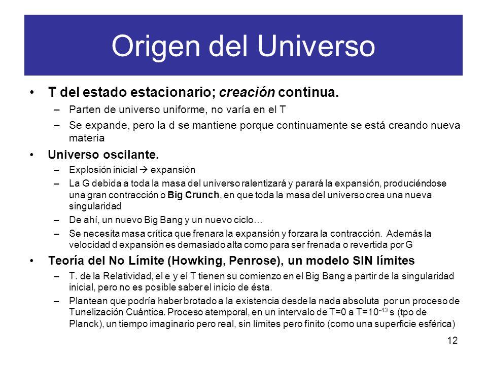 T del estado estacionario; creación continua. –Parten de universo uniforme, no varía en el T –Se expande, pero la d se mantiene porque continuamente s