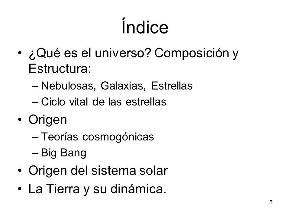 Índice ¿Qué es el universo? Composición y Estructura: –Nebulosas, Galaxias, Estrellas –Ciclo vital de las estrellas Origen –Teorías cosmogónicas –Big