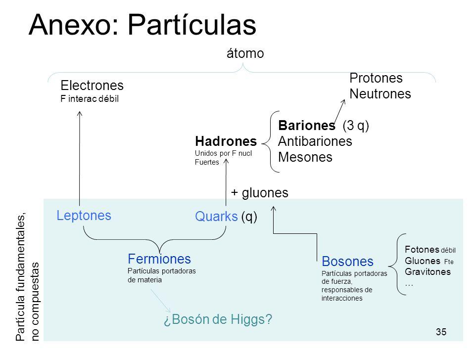 Anexo: Partículas 35 Leptones Quarks (q) Bosones Partículas portadoras de fuerza, responsables de interacciones Fermiones Partículas portadoras de mat