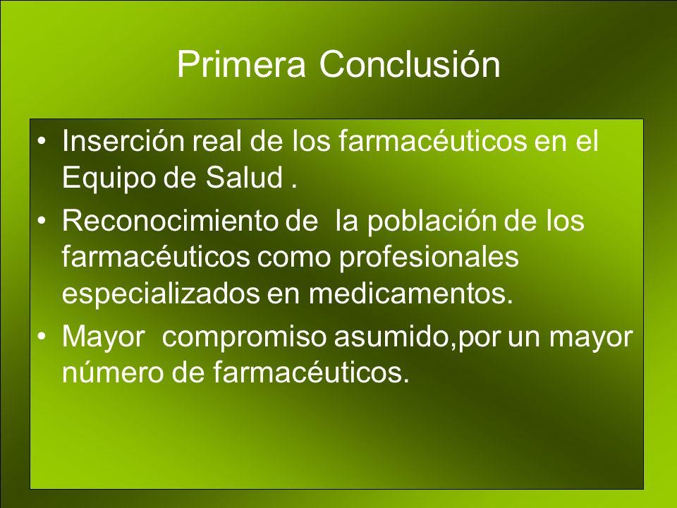 Primera Conclusión Inserción real de los farmacéuticos en el Equipo de Salud.