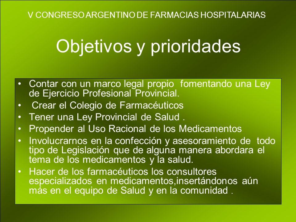 Objetivos y prioridades Contar con un marco legal propio fomentando una Ley de Ejercicio Profesional Provincial.