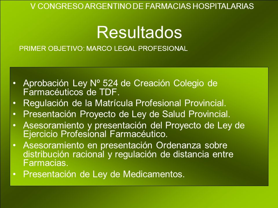 Resultados Aprobación Ley Nº 524 de Creación Colegio de Farmacéuticos de TDF.