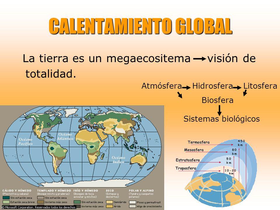 Biosfera Sistemas biológicos La tierra es un megaecositema visión de totalidad. CALENTAMIENTO GLOBAL Atmósfera Hidrosfera Litosfera