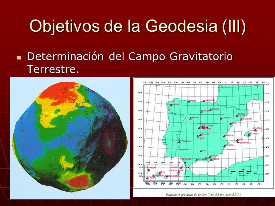 Objetivos de la Geodesia (III) Determinación del Campo Gravitatorio Terrestre. Determinación del Campo Gravitatorio Terrestre.