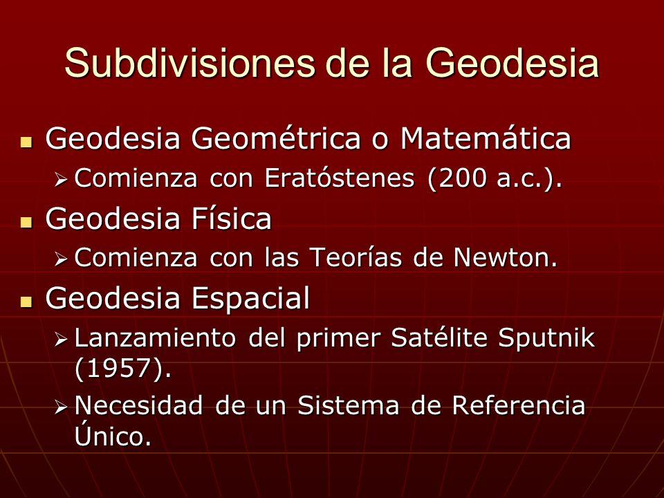 Subdivisiones de la Geodesia Geodesia Geométrica o Matemática Geodesia Geométrica o Matemática Comienza con Eratóstenes (200 a.c.). Comienza con Erató