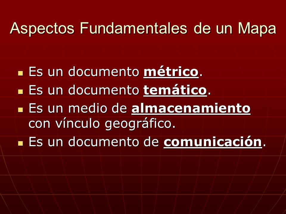 Aspectos Fundamentales de un Mapa Es un documento métrico. Es un documento métrico. Es un documento temático. Es un documento temático. Es un medio de
