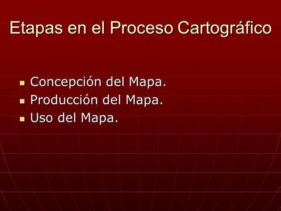 Etapas en el Proceso Cartográfico Concepción del Mapa. Concepción del Mapa. Producción del Mapa. Producción del Mapa. Uso del Mapa. Uso del Mapa.